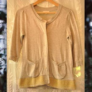 Anthropologie cardigan with yellow details